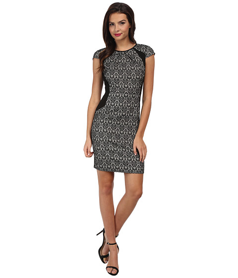 Adrianna Papell - Netting Insets Sheath Dress (Ecru/Blackd) Women