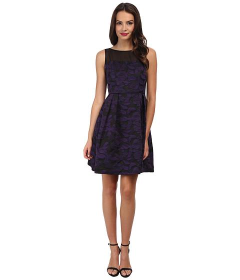 Adrianna Papell - Pleats Detail Fit Flare Dress (Purple/Black) Women