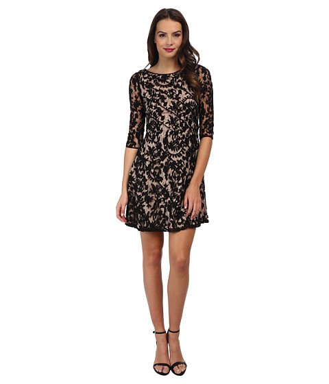 Adrianna Papell - Piping Detail Fit Flare Dress (Black) Women