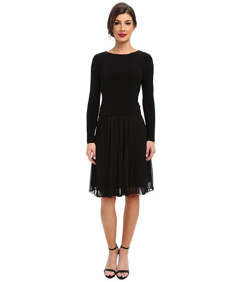 Adrianna Papell - Pleated Sleeve Fit Flare Dress (Black) Women's Dress