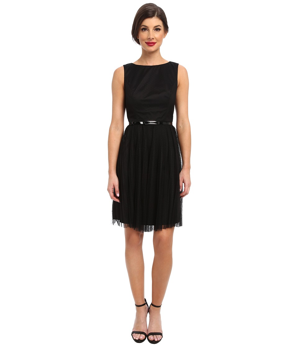 Adrianna Papell Net Tulle w/ Dots Fit Flare Dress (Black) Women