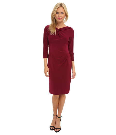 Adrianna Papell - Knotted Neckline Draped Dress (Bordeaux) Women