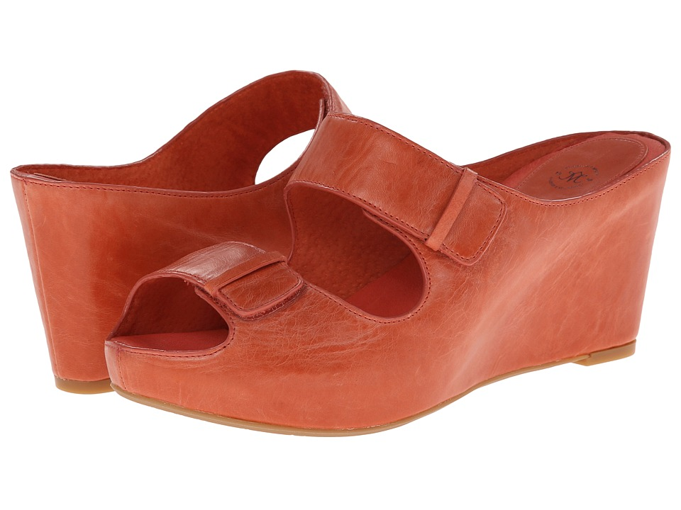 Johnston & Murphy - Tricia Double Strap Slide (Coral Waxy Calfskin) Women's Slide Shoes