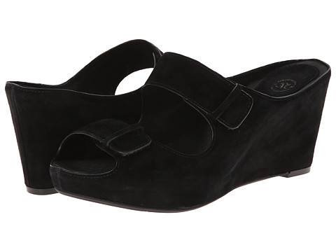 Johnston & Murphy - Tricia Double Strap Slide (Black Kidsuede) Women