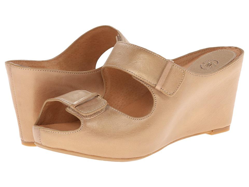Johnston & Murphy - Tricia Double Strap Slide (Soft Gold Waxy Calfskin) Women