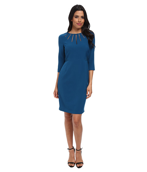 Adrianna Papell - Radiated Netting Inset Sheath Dress (Teal) Women