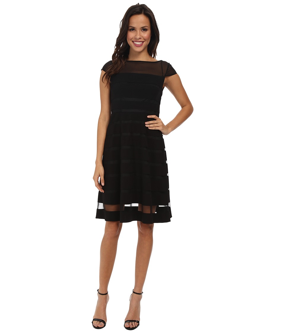 Adrianna Papell - Gradiated Chiffon Bands Dress (Black) Women's Dress
