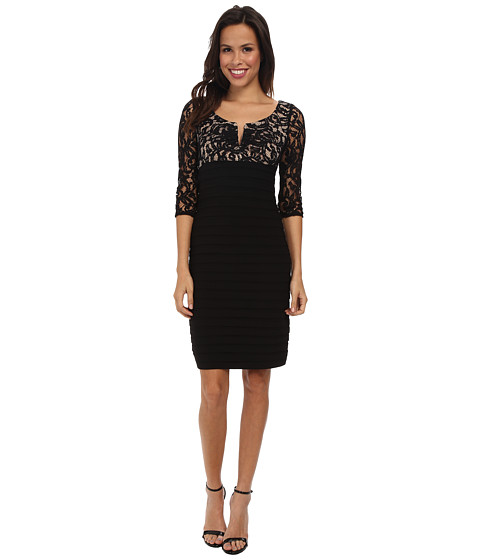 Adrianna Papell - V Pleat Neck Lace Band Jersey Dress (Black) Women