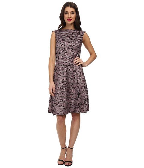 Adrianna Papell - Directional Spliced Jacquard Dress (Dusty Pink) Women