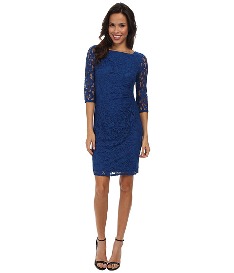 Adrianna Papell - Beaded Detail Side Swag Dress (Marine) Women's Dress
