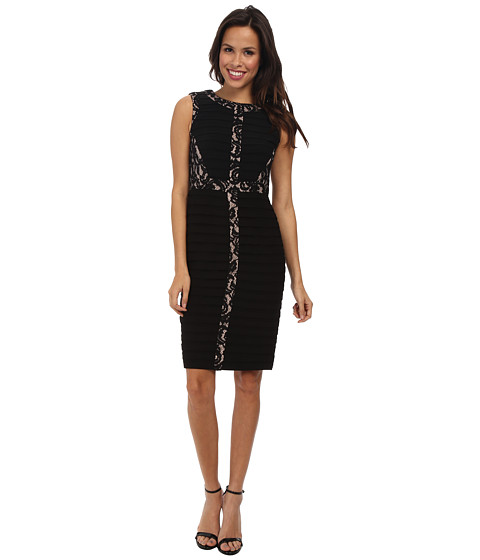 Adrianna Papell - Lace Inset Banded Dress (Black) Women's Dress