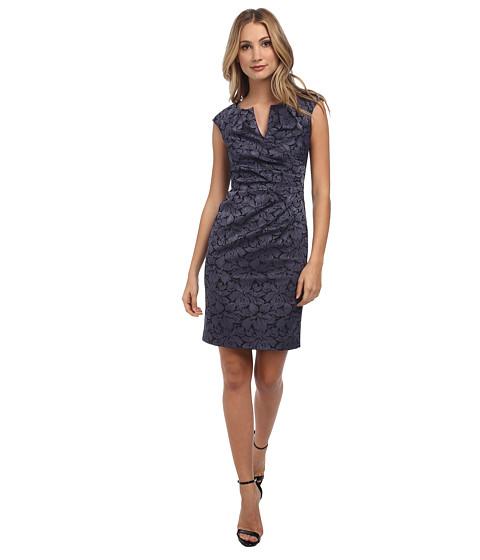 Adrianna Papell - Floral Jacquard Wrap Sheath (Gunmetal) Women's Dress