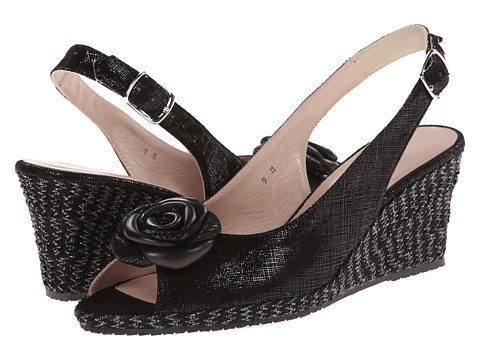 Sesto Meucci - 145 (Black Cartizze/Nappa Bow) Women's Wedge Shoes