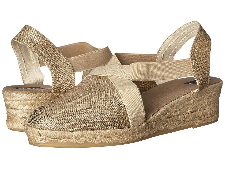 Sesto Meucci - 847 (Oro (Gold) Lino Metal) Women's Wedge Shoes