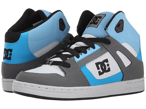 DC Kids - Rebound (Big Kid) (Grey/Grey/Blue) Boys Shoes