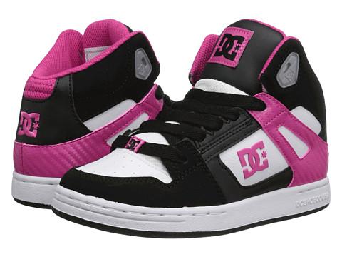 DC Kids - Rebound (Little Kid) (Black/White/Crazy Pink) Girls Shoes
