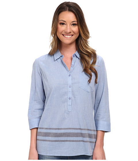 Toad&Co - Romey Three-Quarter Sleeve Shirt (Berber Blue) Women's Short Sleeve Button Up