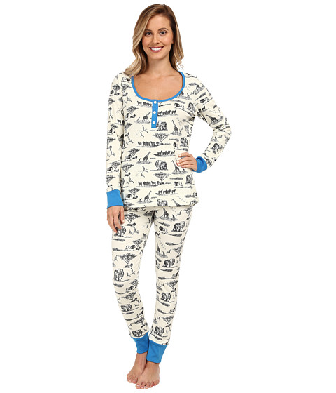 BedHead - Black Safari Toile Stretch Classic Henley Set (Black Safari Toile) Women's Pajama Sets