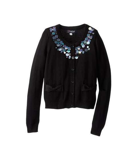 Candy Hearts Kids - Solid Cardigan w/ Paillettes (Big Kids) (Black) Girl's Sweater