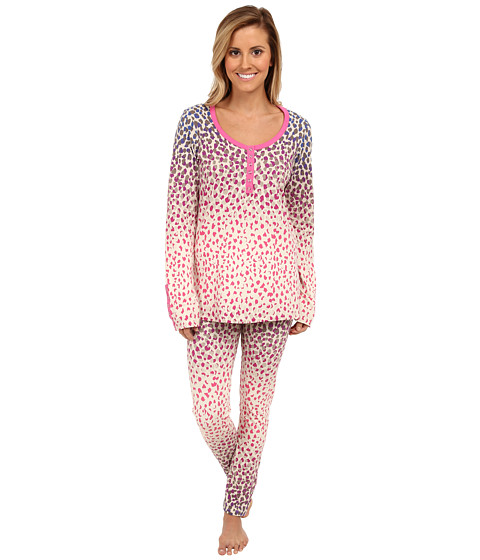 BedHead - Stretch Snap Tape Henley PJ (Multi Ombre Leopard) Women's Pajama Sets