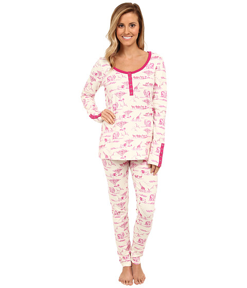 BedHead - Stretch Snap Tape Henley PJ (Magenta Safari Toile) Women's Pajama Sets