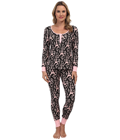 BedHead - Henley PJ (Black/Pink Eiffel Tower) Women's Pajama Sets