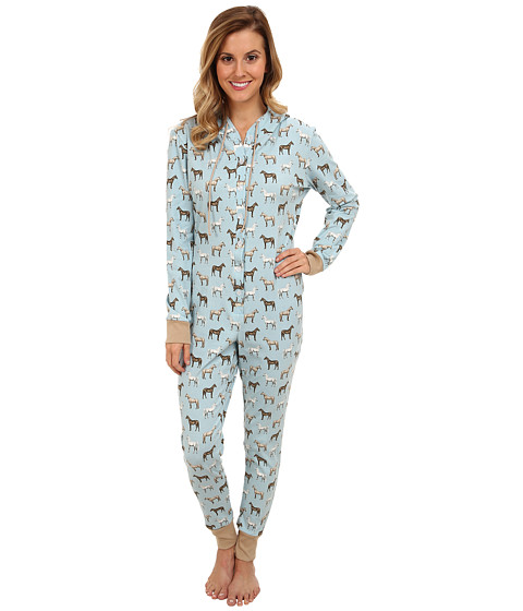 BedHead - L/S Hooded One Piece (Light Blue Year of the Horse) Women's Jumpsuit & Rompers One Piece