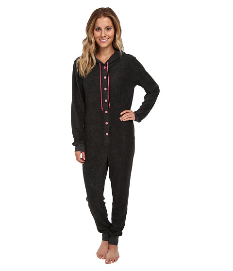 BedHead - Charcoal Sherpa Long Sleeve Hooded One Piece (Charcoal Sherpa) Women's Jumpsuit & Rompers One Piece
