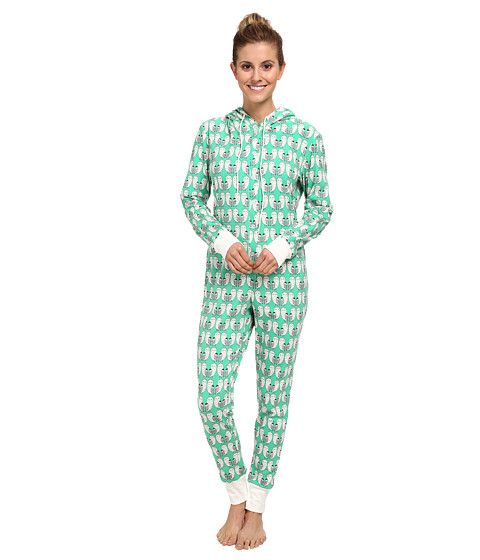 BedHead - L/S Hooded One Piece (Green Barn Owl) Women's Jumpsuit & Rompers One Piece