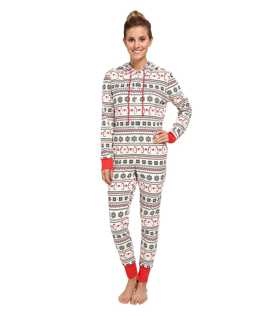 BedHead - L/S Hooded One Piece (Ivory Penguin Fair Isle) Women's Jumpsuit & Rompers One Piece