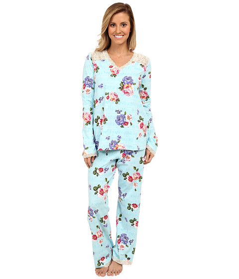 BedHead - Madame Bovary Stretch L/S Lace V-Neck Set (Blue Madame Bovary) Women's Pajama Sets