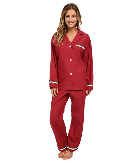 BedHead - Ruffle Trim PJ Set (Cranberry End on End) Women's Pajama Sets