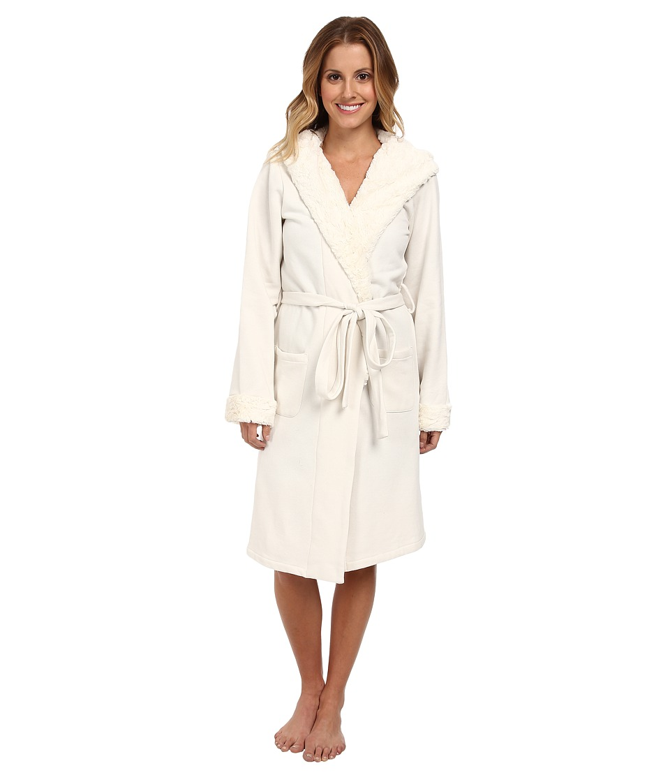 BedHead - Short Hooded Robe (Cream Poly Fleece) Women
