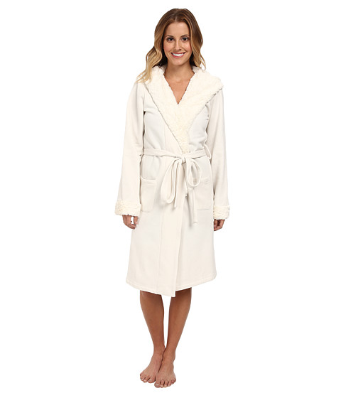BedHead - Short Hooded Robe (Cream Poly Fleece) Women's Robe