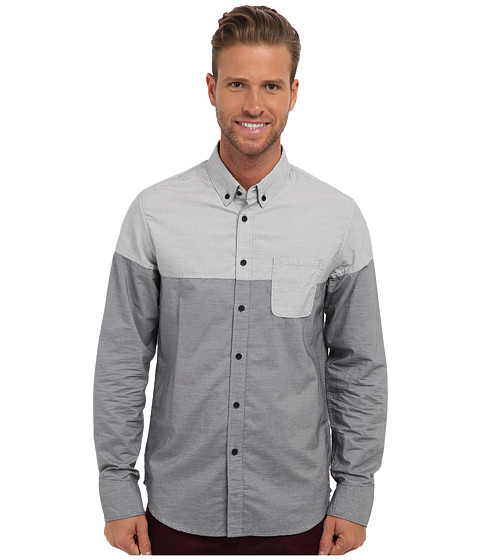 Howe - White Walls L/S Woven (Cast Iron) Men's Long Sleeve Button Up