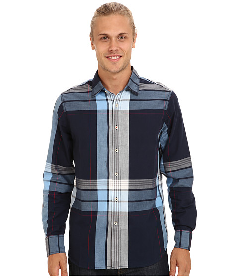 Howe - Diamond Rain L/S Woven (Military Blue) Men's Long Sleeve Button Up