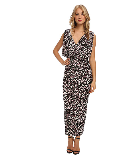 Tbags Los Angeles - V-Neck Drape Sleeve Waisted Maxi w/ Tie Belt (ZI5 Print) Women
