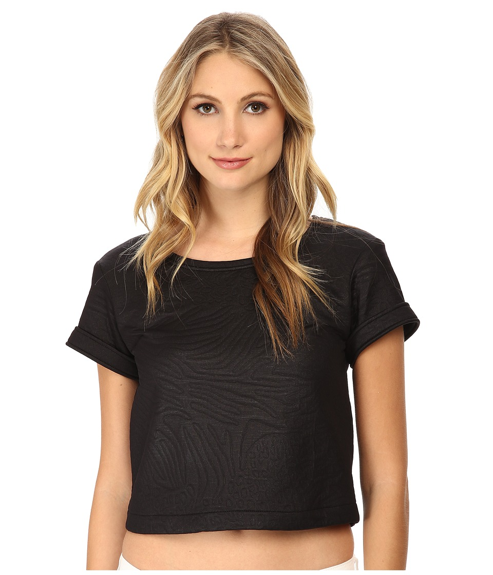 Versace Jeans - Cropped Textured T-Shirt (Nero) Women's Short Sleeve Pullover