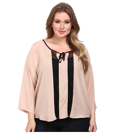 BB Dakota - Plus Size Anja Woven Tops (Pink Shell) Women's Long Sleeve Pullover
