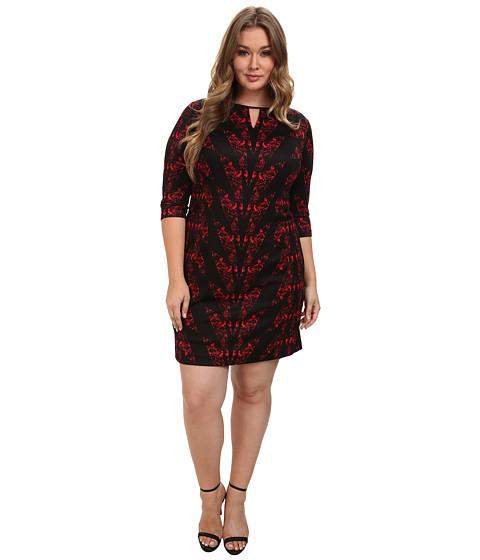 Tahari by ASL Plus - Plus Size Jake Dress (Black/Lipstick) Women
