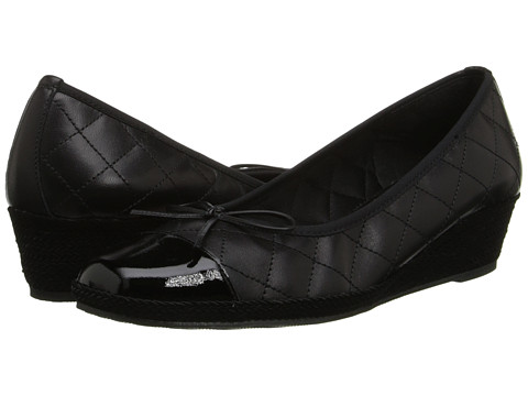 Sesto Meucci - 1710 (Black Nappa/Black Patent/Elastic) Women's Wedge Shoes