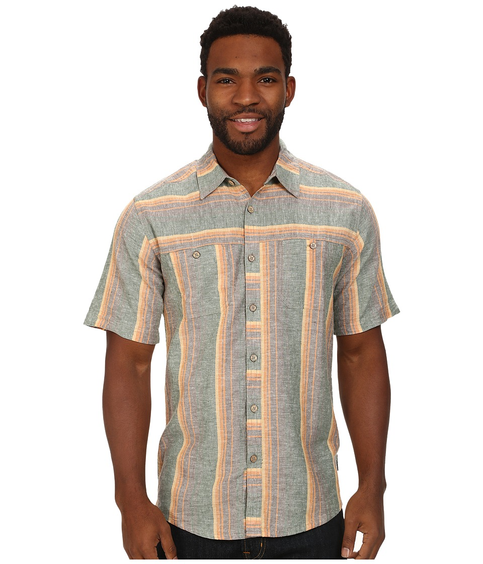 Royal Robbins - Adrift Stripe S/S (Taupe) Men's Short Sleeve Button Up