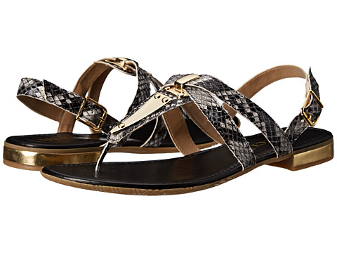 Sesto Meucci - Caryn (Black/White Super Madas Print/Gold Trim) Women's Sandals