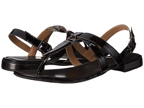 Sesto Meucci - Caryn (Black Super Patent/Gun Metal Trim) Women's Sandals