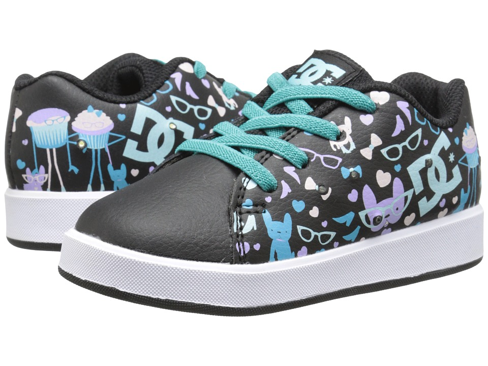 DC - Phos (Toddler) (Black Print) Women's Skate Shoes