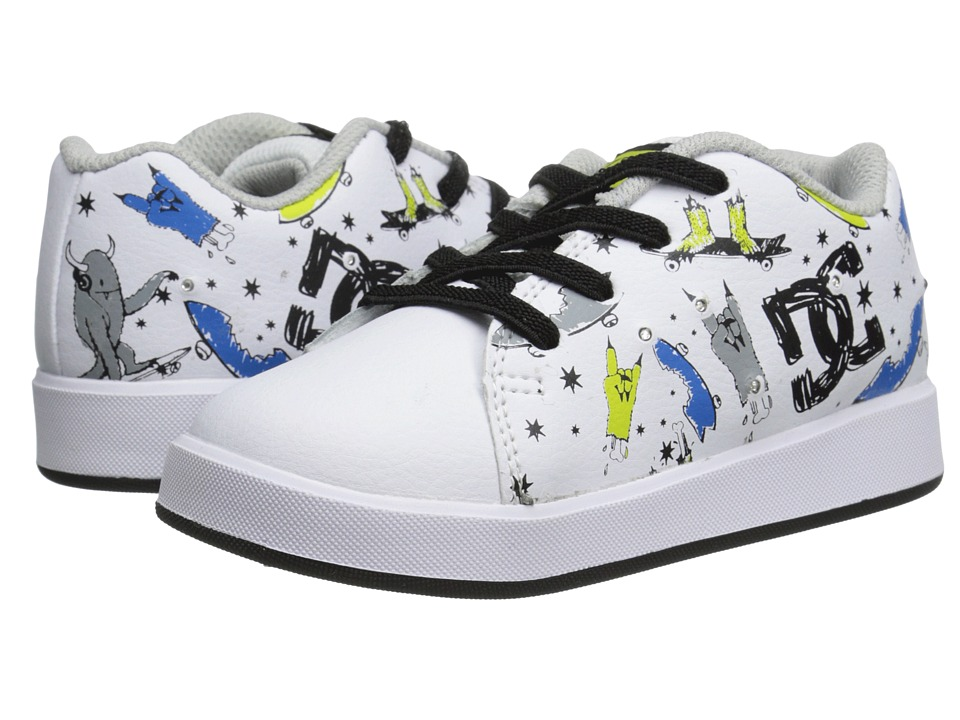 DC - Phos (Toddler) (White/Black/Print) Men's Skate Shoes