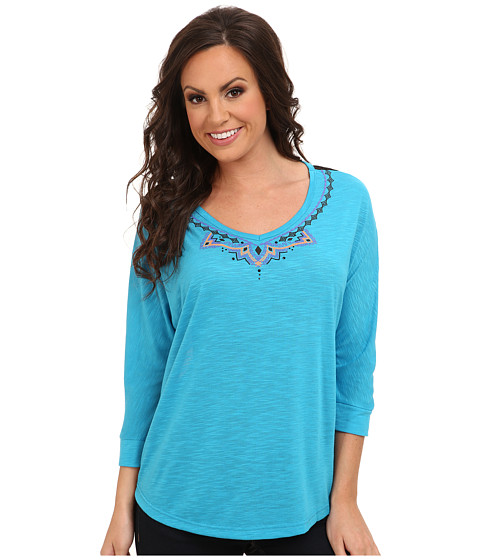 Cruel - Rayon Slub w/ Chiffon Back (Blue) Women's Long Sleeve Pullover