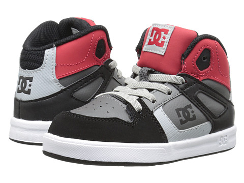 DC Kids - Rebound UL (Toddler) (Black/Grey/Red) Boys Shoes