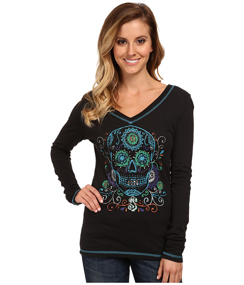 Cruel - Cotton Modal Long Sleeved V-Neck (Black) Women
