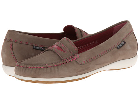 Mephisto - Axena (Light Grey Bucksoft/Fuchsia) Women's Slip on Shoes